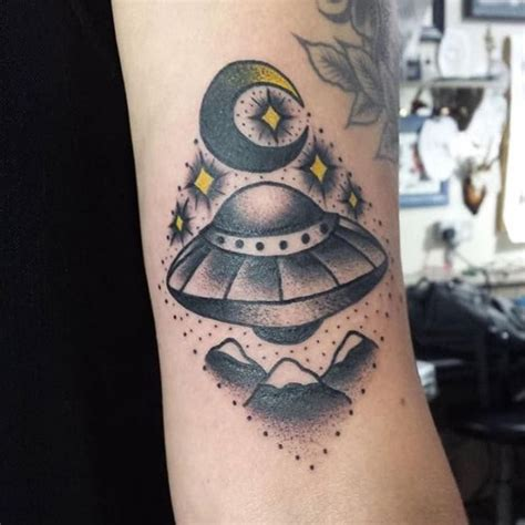 flying saucer tattoo moon ufo piercings tattoos posts