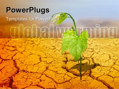 powerpoint themes soil powerpoint template green plant on background of cracked