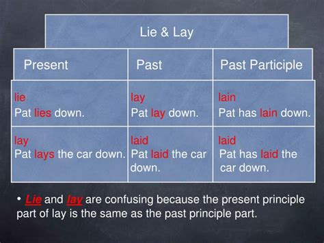 Past Participle Of Lie To Recline by Ppt Troublesome Verb Pairs Powerpoint Presentation Id