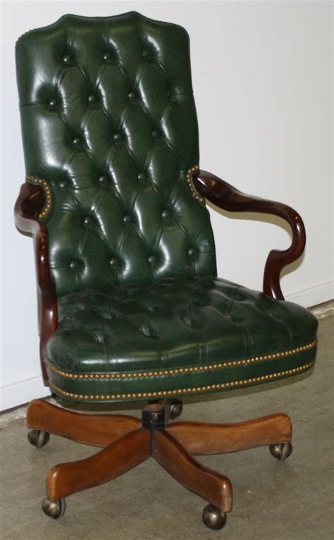 green tufted leather office chair green tufted office chair jpg merrill s auction