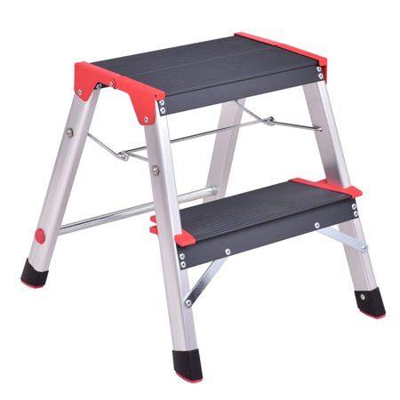 Lightweight 2 Step Stool by Costway 2 Step Aluminum Lightweight Ladder Folding Non