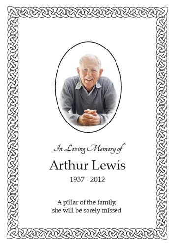 Celtic Funeral Card Free Templates by Funeral Cards Gecce Tackletarts Co