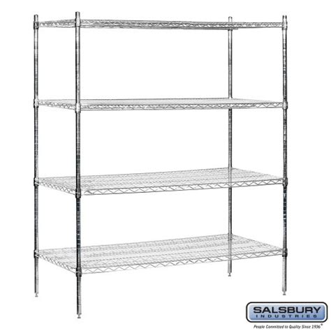 salsbury industries stationary wire shelving unit 60 inch