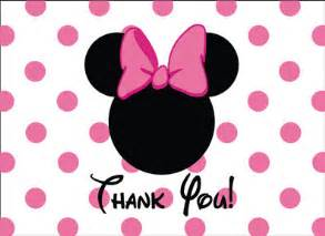 minnie mouse thank you card in pink