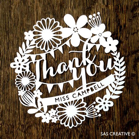 easy card template for paper cutting personalised papercut template thank you card pdf jpeg svg