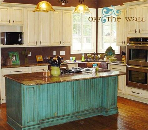 turquoise kitchen island antique white cabinets turquoise and islands on pinterest