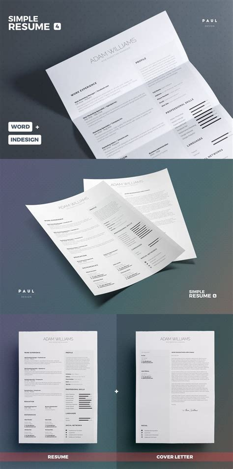 simple resume template indesign simple resume cv template indesign indd ms word