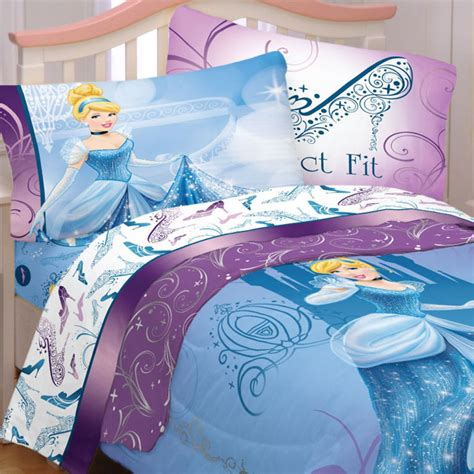 4pc disney cinderella glass slipper twin bedding set