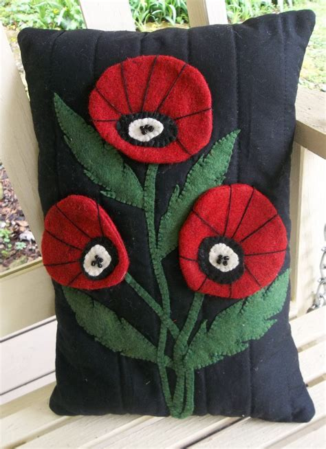 felt applique pillow wool felt applique poppy felt applique machine