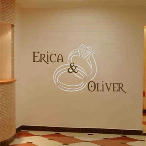 Wallsticker Wedding personalized wedding monograms rings names wall decal sticker graphic
