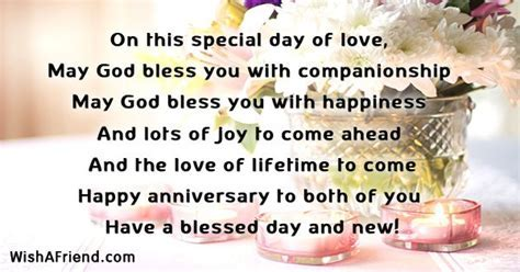 On this special day of love,, Religious Anniversary Wish