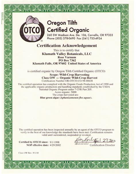 how to get usda certified klamath valley botanicals blue green algae usda certified