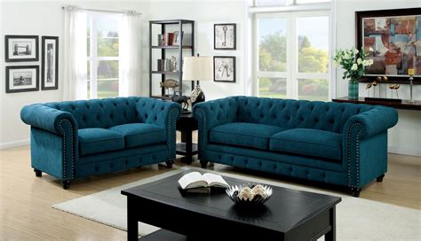 stanford teal fabric living room set from furniture