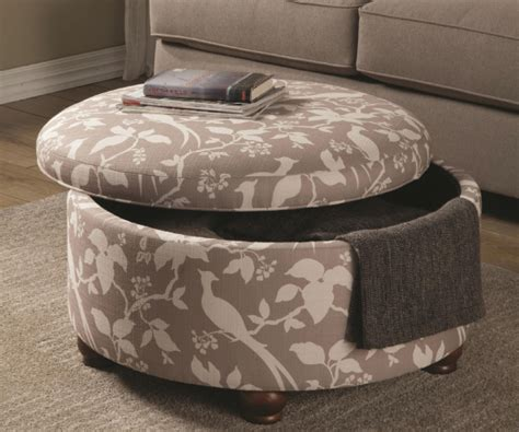 Grey And Off White Fabric Round Storage Ottoman