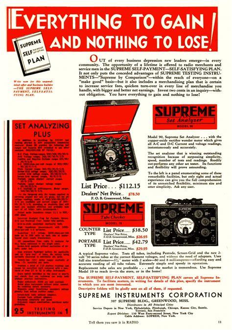 supreme radio supreme instruments catalogs flyers advertisements