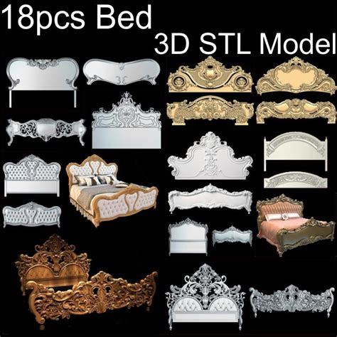 pcs bed  model stl relief  cnc stl format bed