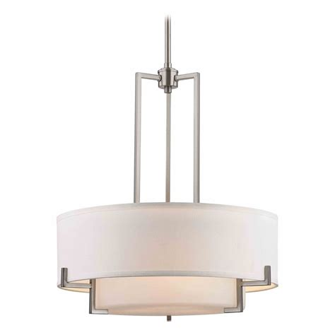 Modern White Pendant Lighting Modern Drum Pendant Light With White Glass In Satin Nickel Finish 7013 09 Destination Lighting