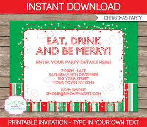 christmas invitation template red and green instant