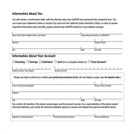 direct deposit forms sle direct deposit authorization form exles 7