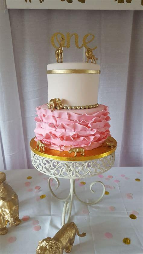 olivia friends wild  fancy safari baby girl st birthday diy safari cake pink  gold