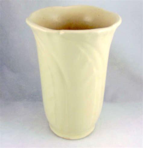 Shawnee Pottery Vase by Shawnee Pottery Embossed Leaves Vase Ivory Semi Matte