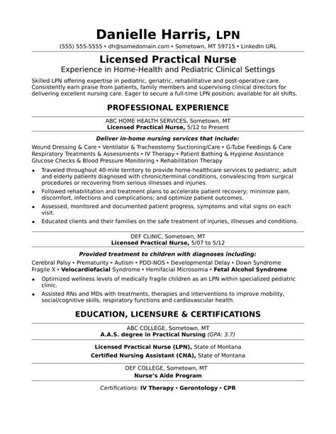 Lpn Resume by Licensed Practical Resume Sle