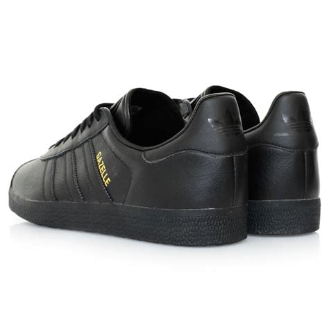adidas originals gazelle black leather shoes  black  men lyst
