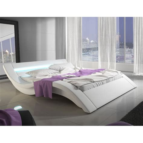unique king size beds sienna designer king size bed in white pu with multi led