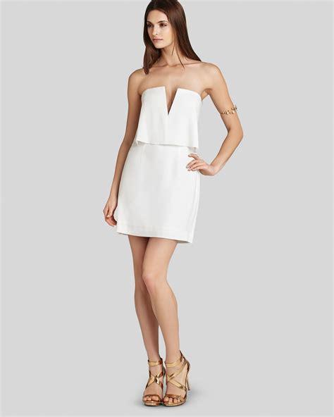 bcbgmaxazria dress strapless blouson in lyst