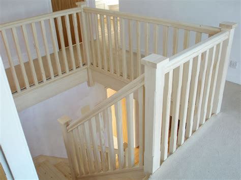 landing banister staircase traditional style handrails stop chamfered balusters