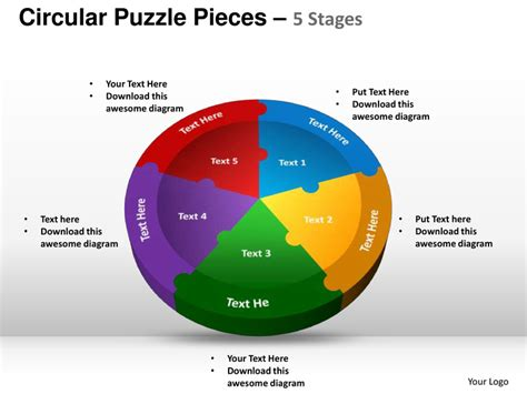 Circular Puzzle Pieces 5 Stages Powerpoint Templates Powerpoint Template Puzzle Pieces Free