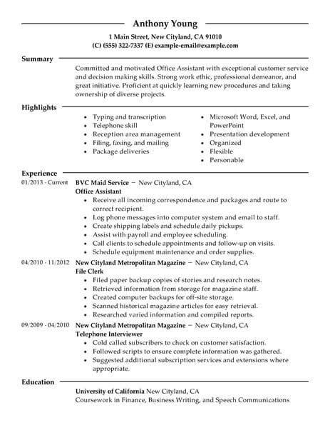 Professional Summary For Clerical Resume Best Office Assistant Resume Exle Livecareer
