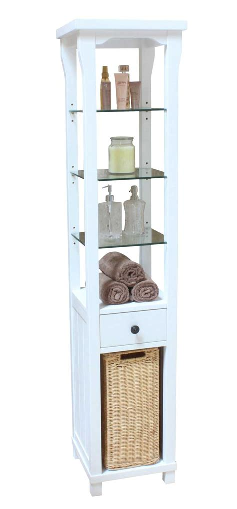 Shelving Units For Bathrooms Apartments Awesome White Vintage Bathroom Shelving Units With 3 Glass Shelf And Drawer Also