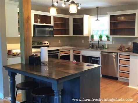 painting oak cabinets painted oak kitchen cabinet reveal farm fresh vintage finds