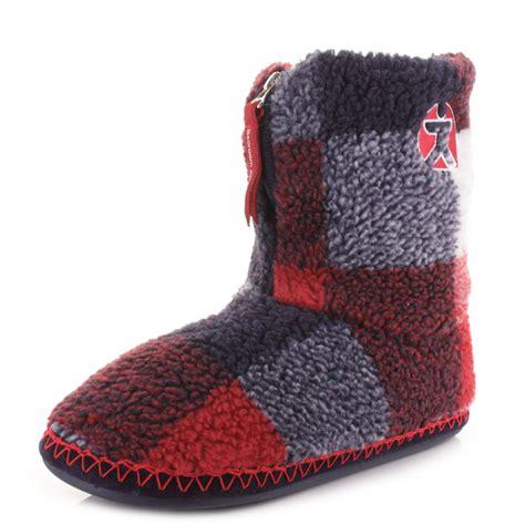 navy slipper boots mens bedroom athletics mcqueen navy check fleece warm