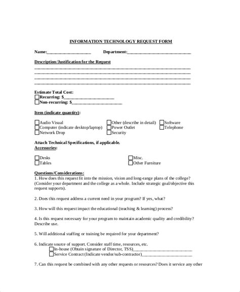 technology request form template sle information request form 10 exles in word pdf