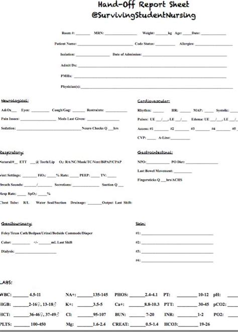 best 25 nurse report sheet ideas on pinterest sbar