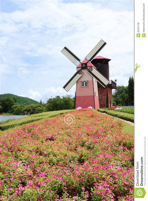 Garden Flower Windmills Flower Garden With Windmill Royalty Free Stock Photos Image 20701118