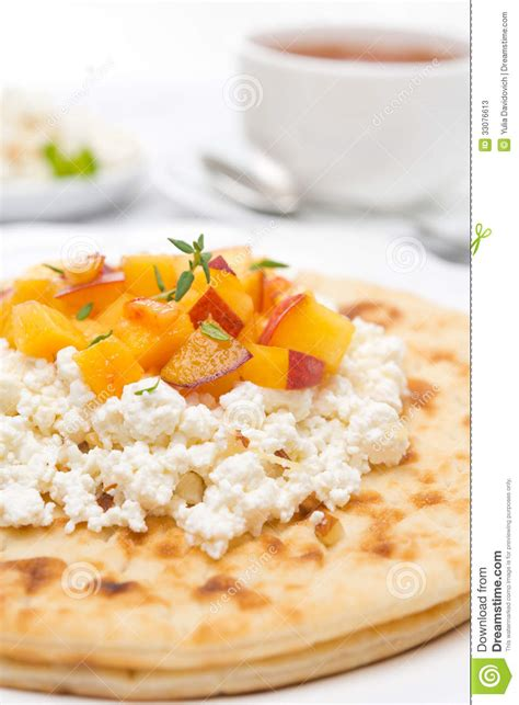 flat bread with cottage cheese honey nuts fresh
