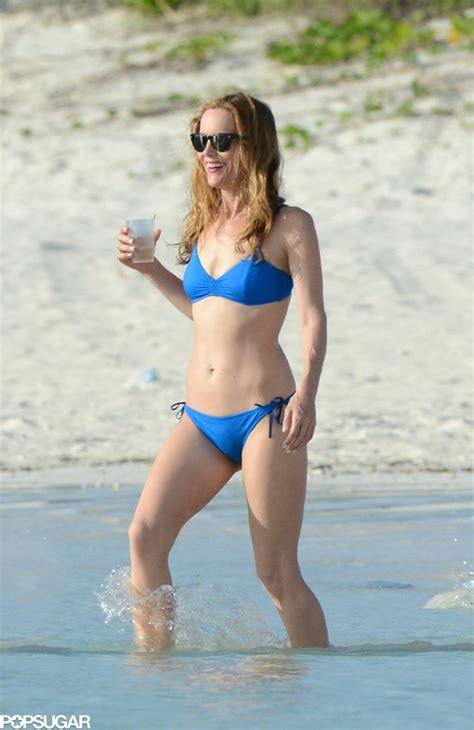 Sip Tiny House leslie mann showed off her fit frame in a blue bikini