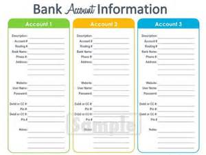 bank account information printable editable personal