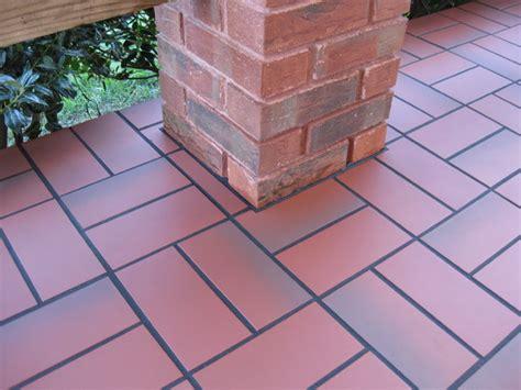 Porch Tiles Concrete basketweave with quarry tile concrete patio