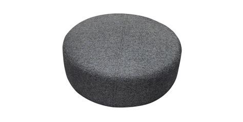 Upholstery Sofa Malaysia Ottomans Thick Woven Charcoal Fabric Round Ottoman