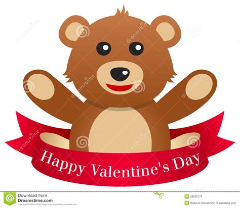 teddy valentines day s day teddy with ribbon stock vector