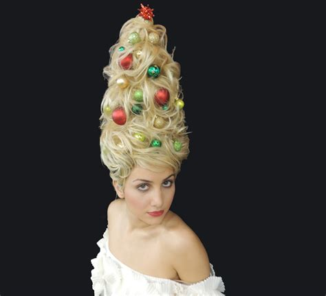 christmas tree hair do merry and happy new year