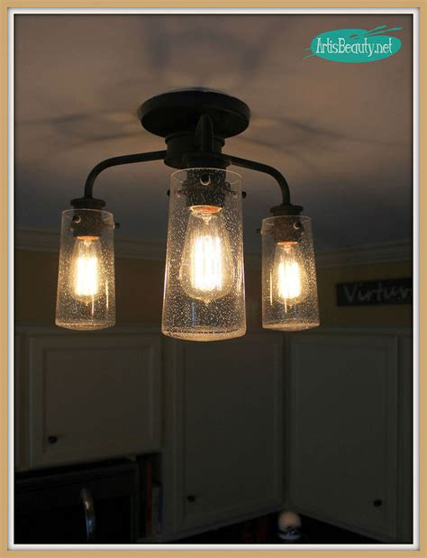 vintage style kitchen lighting update buh bye light