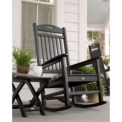 Black Patio Chair Shop Trex Outdoor Furniture Yacht Club Charcoal Black Plastic Patio Rocking Chair At Lowes