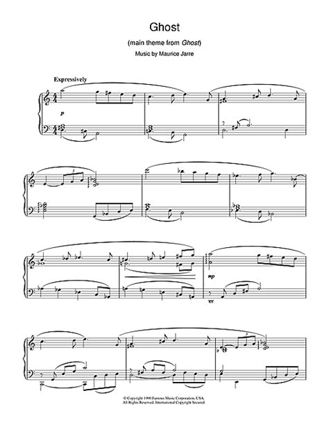 theme song ghost ghost theme sheet music by maurice jarre piano 38263