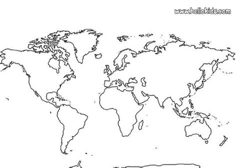 free coloring page world map world map coloring pages hellokids com