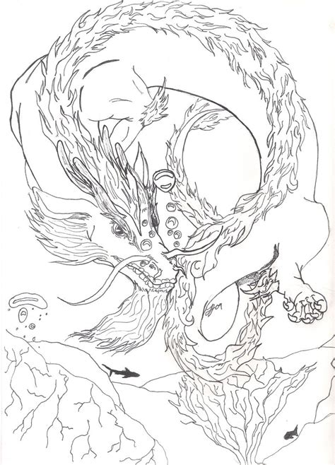 water dragon coloring page water dragon sketch by ladyjet2 on deviantart